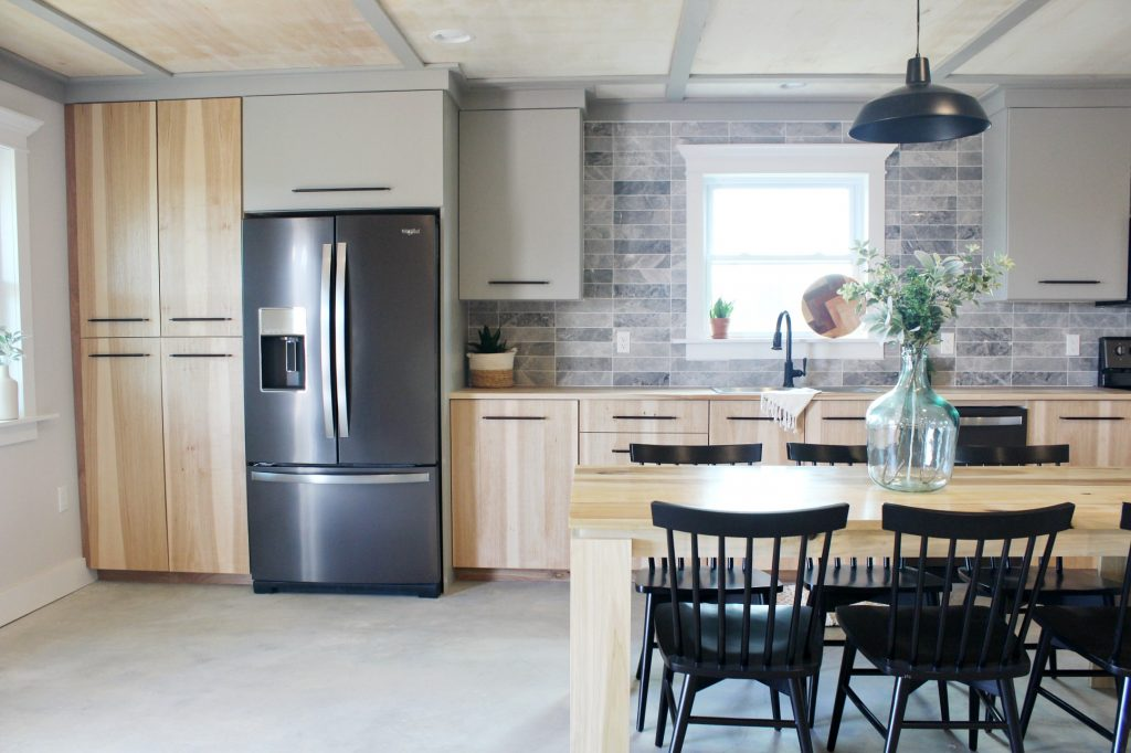 Dream Kitchen with Hickory Cabinets and Black Stainless Appliances