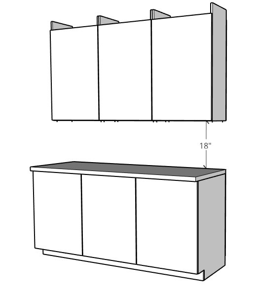 upper and base cabinets should be 18 inches apart diagram