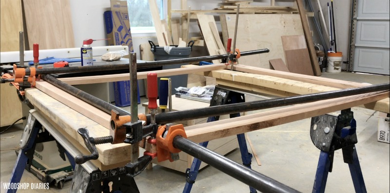 Picture frame gluing up with pipe clamps