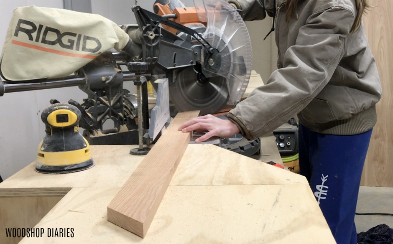 Shara Woodshop Diaries cutting miters on ends of 1x3s in miter saw