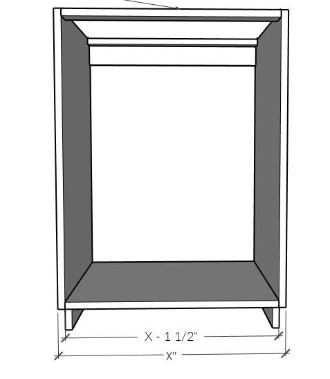 Diagram to help determine cabinet carcass sizing to cut plywood