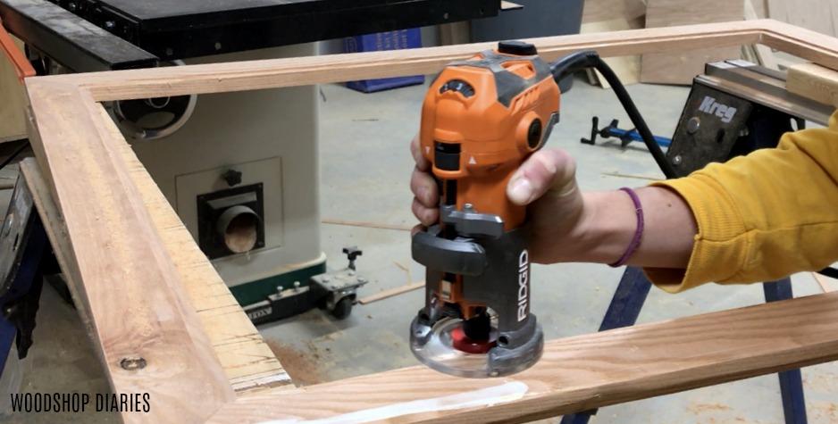 routing clockwise around inside of custom frame to make rabbet