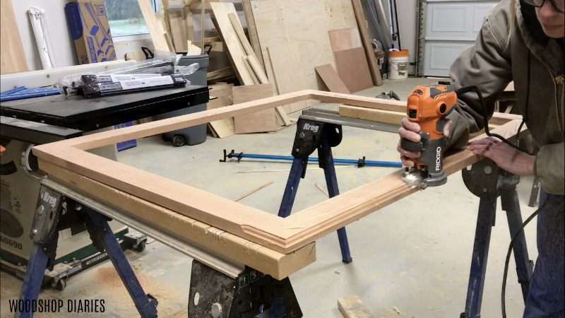 Roman Ogee edge being routed along DIY picture frame with palm router