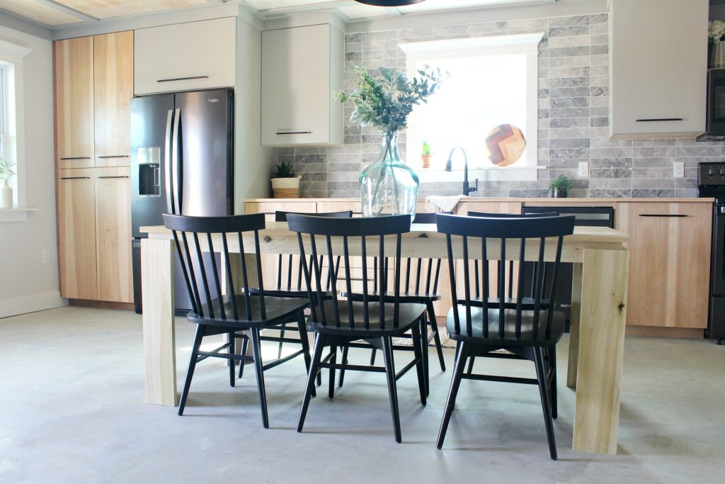 Modern Dining Table in Fall Renovation Challenge Reveal