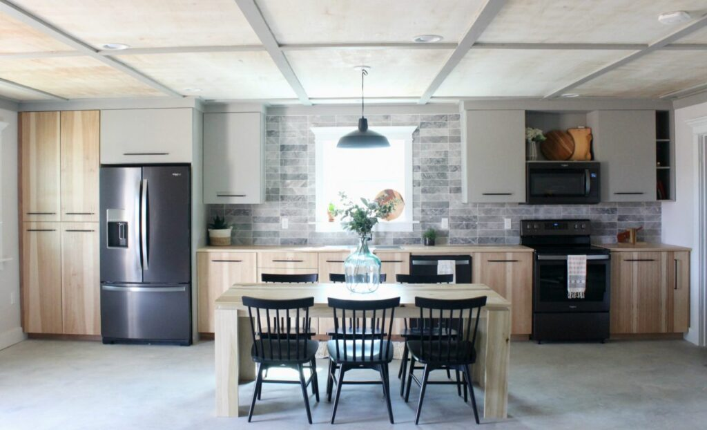 Kitchen with plywood ceilings and DIY cabinets