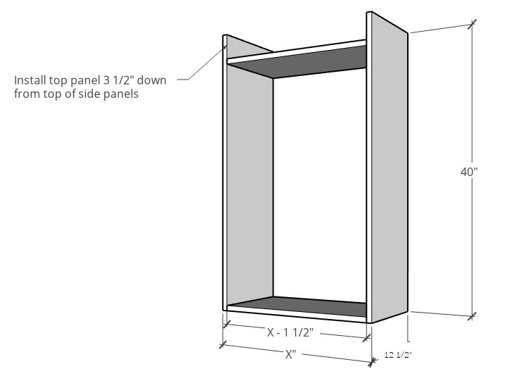 Diagram of upper kitchen cabinet assembly