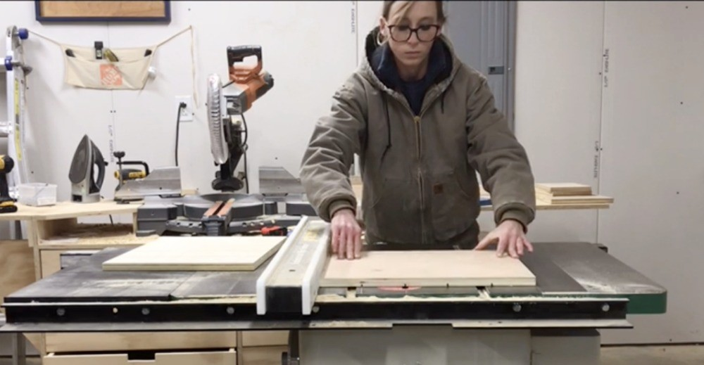 Shara woodshop Diaries cutting faux slats into box side panels