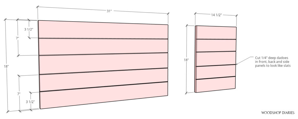 Diagram of dado locations to make fake slats