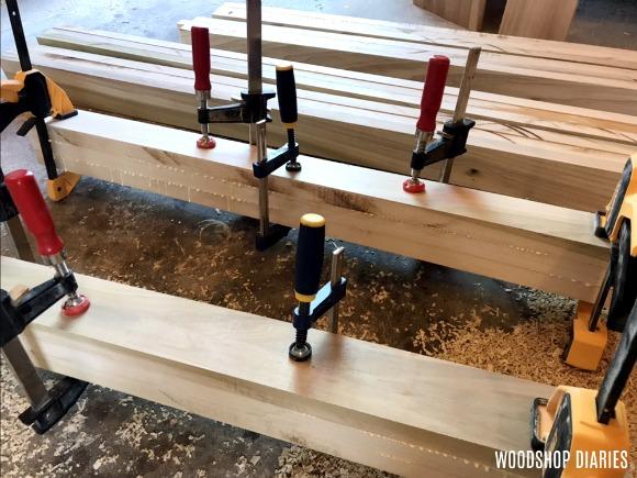 Modern bed frame posts glued together