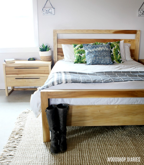 Modern poplar bed with matching nightstand