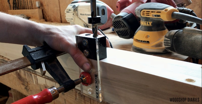 Drill dowel holes into modern bed posts