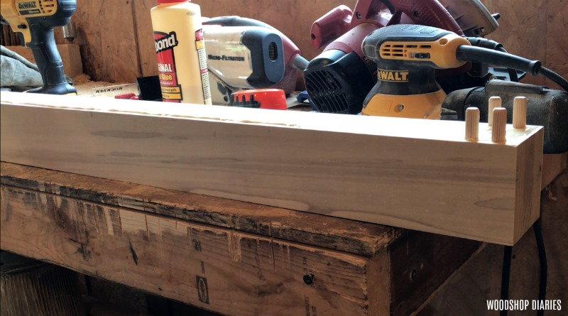 Dowels glued into bed frame posts
