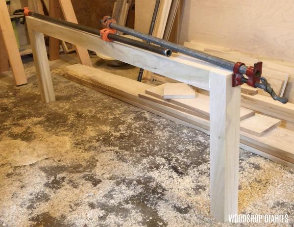 Foot board of DIY modern bed glued up