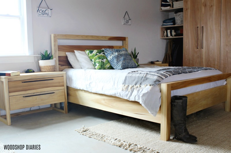 Matching Modern Bed frame and nightstand set