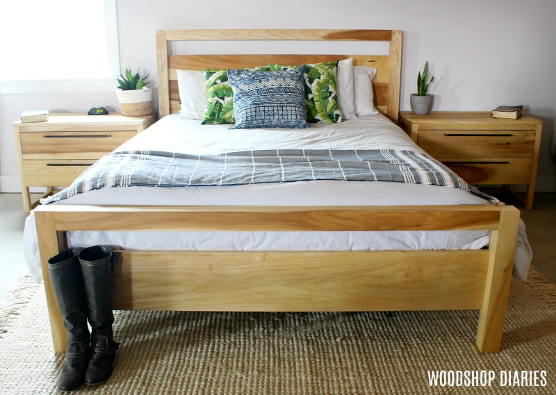 DIY Modern Bed Frame with matching nightstands