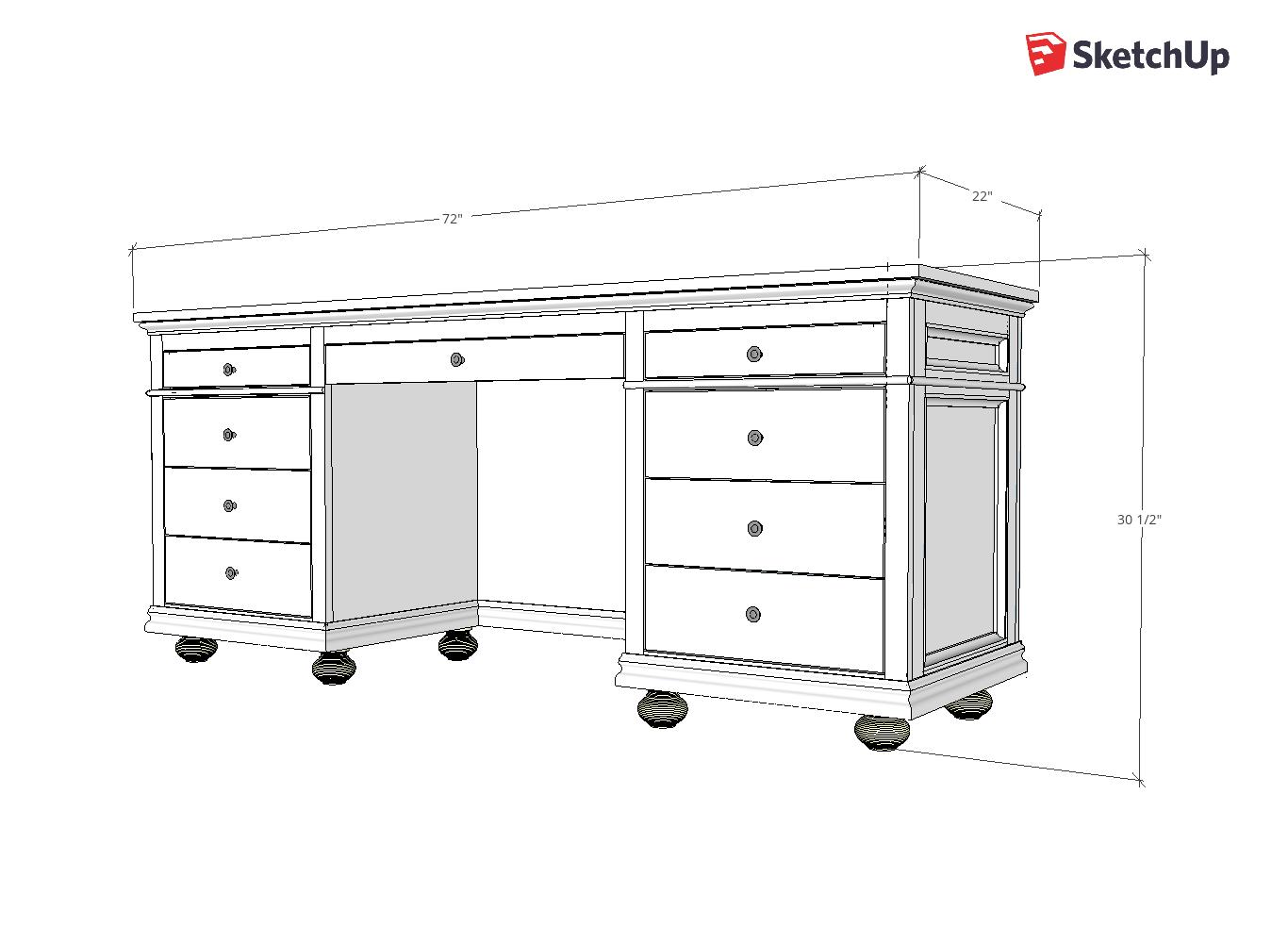 9 Drawer Storage Desk Sketchup