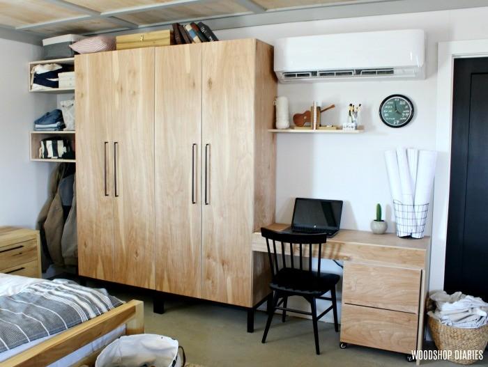 Old desk set up next to DIY closet cabinets