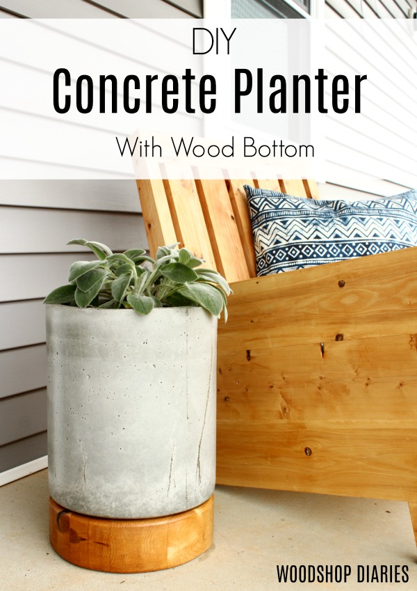 How to make a DIY concrete planter pot with a wooden base--great way to spruce up your front porch and add some easy DIY curb appeal