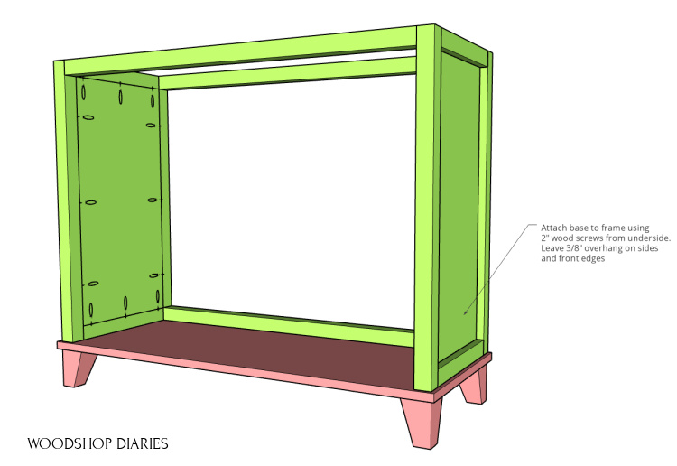 laundry hamper frame attached to base panel with feet