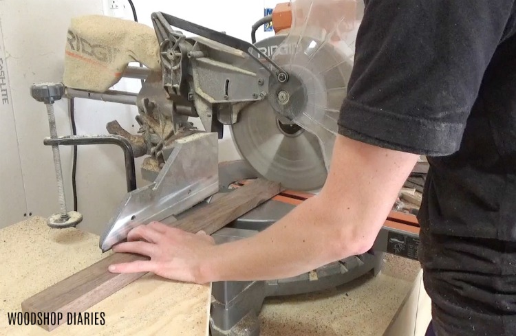 Use Miter Saw to Cut down walnut strips for serving tray