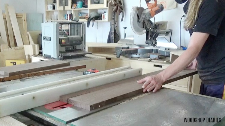 """Rip boards down to 2"""" strips for serving tray bottom"""
