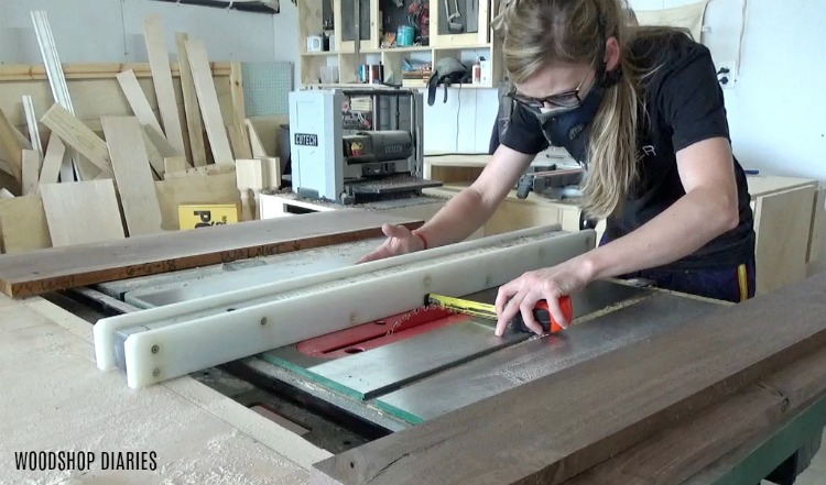 How to make a DIY Serving Tray--rip boards down to thin strips