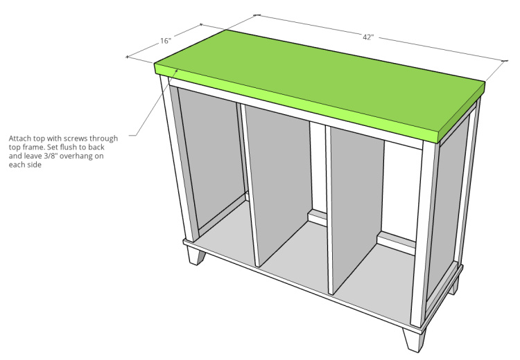 Diagram showing top panel dimensions of tilt out laundry hamper cabinet