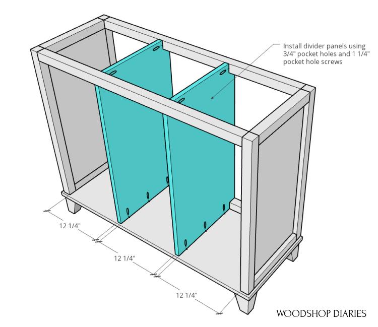 Divider panels installed into tilt out laundry hamper frame