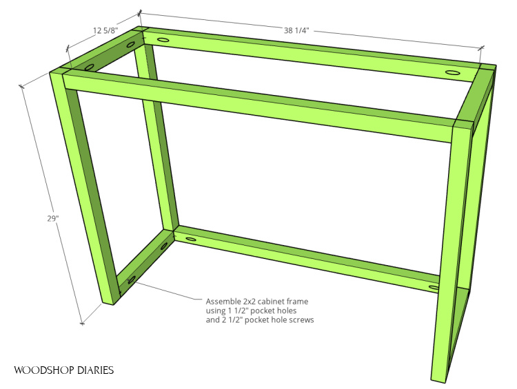 Tilt out laundry hamper cabinet frame assembled with pocket holes and screws