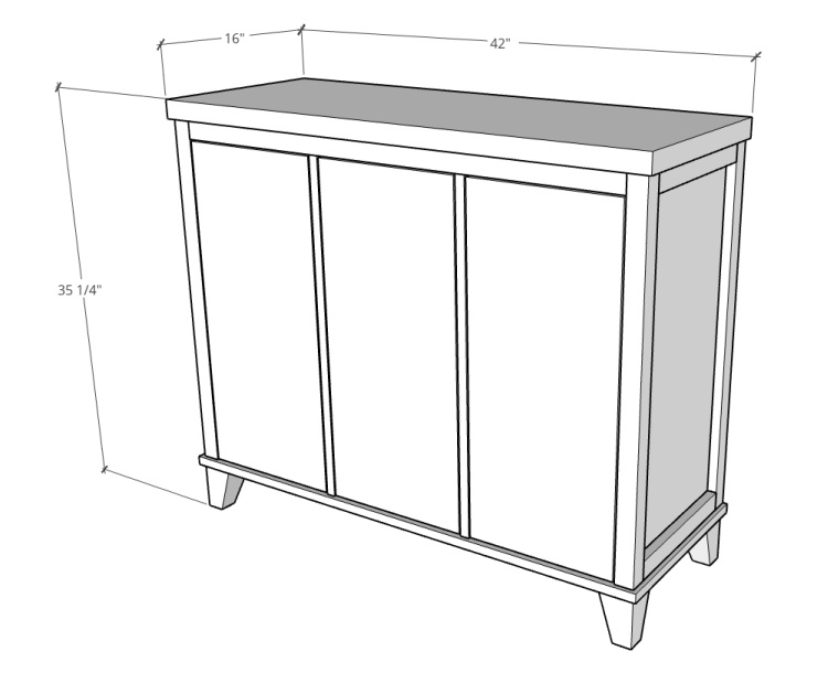 """Overall Dimensions of tilt out laundry hamper cabinet--16"""" deep x 42"""" wide x 35 ¼"""" tall"""