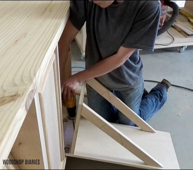 Attaching tilt out bottom panels and supports
