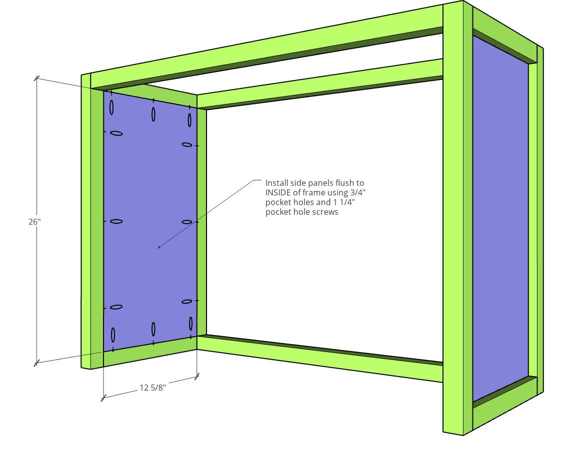 Install side panel into tilt out laundry hamper frame