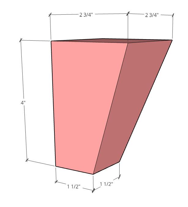 "tapered foot diagram 2 ¾"" at top and 1 ½"" at bottom 4"" tall"