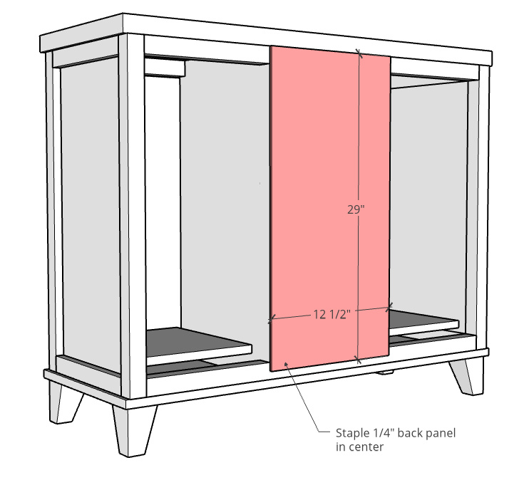 Back panel diagram and dimensions for laundry storage cabinet