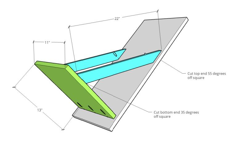 Diagram of tilt out hamper door