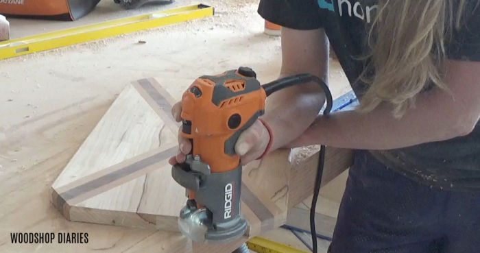 Routing chamfer edge on cutting board