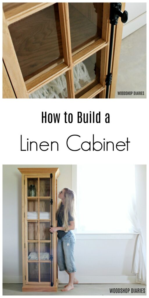 How to Build a DIY Linen Cabinet with Glass Doors and Shelves--PDF Woodworking Plans