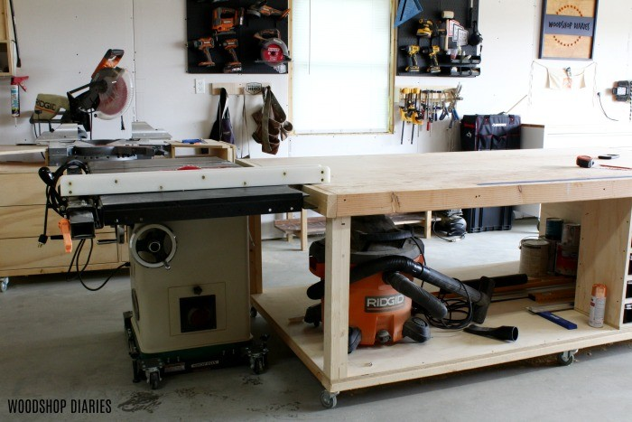 Table saw and outfeed table set up