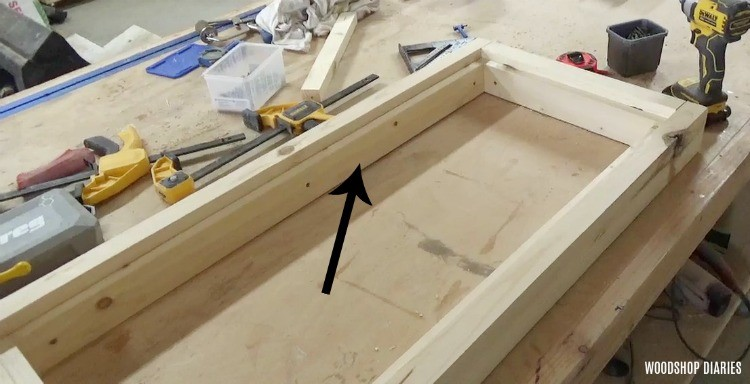 Screw wood liner supports into chest lid frame