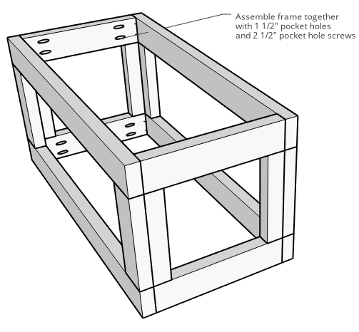 Diagram of 2x4 frame assembly of storage trunk