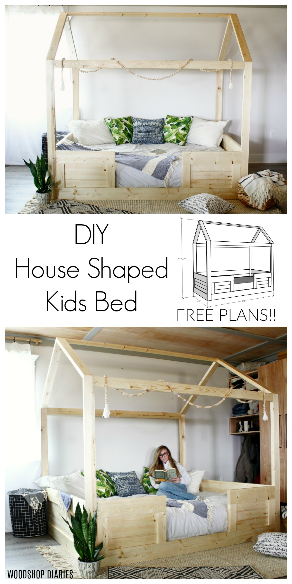 How to Build a DIY Kids House Bed Pinterest collage image
