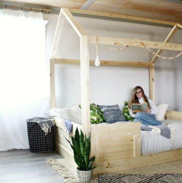 Shara Woodshop Diaries reading in DIY Kids House Bed Frame