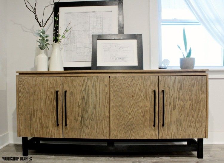 Front View of DIY Modern Console Cabinet with four closed doors