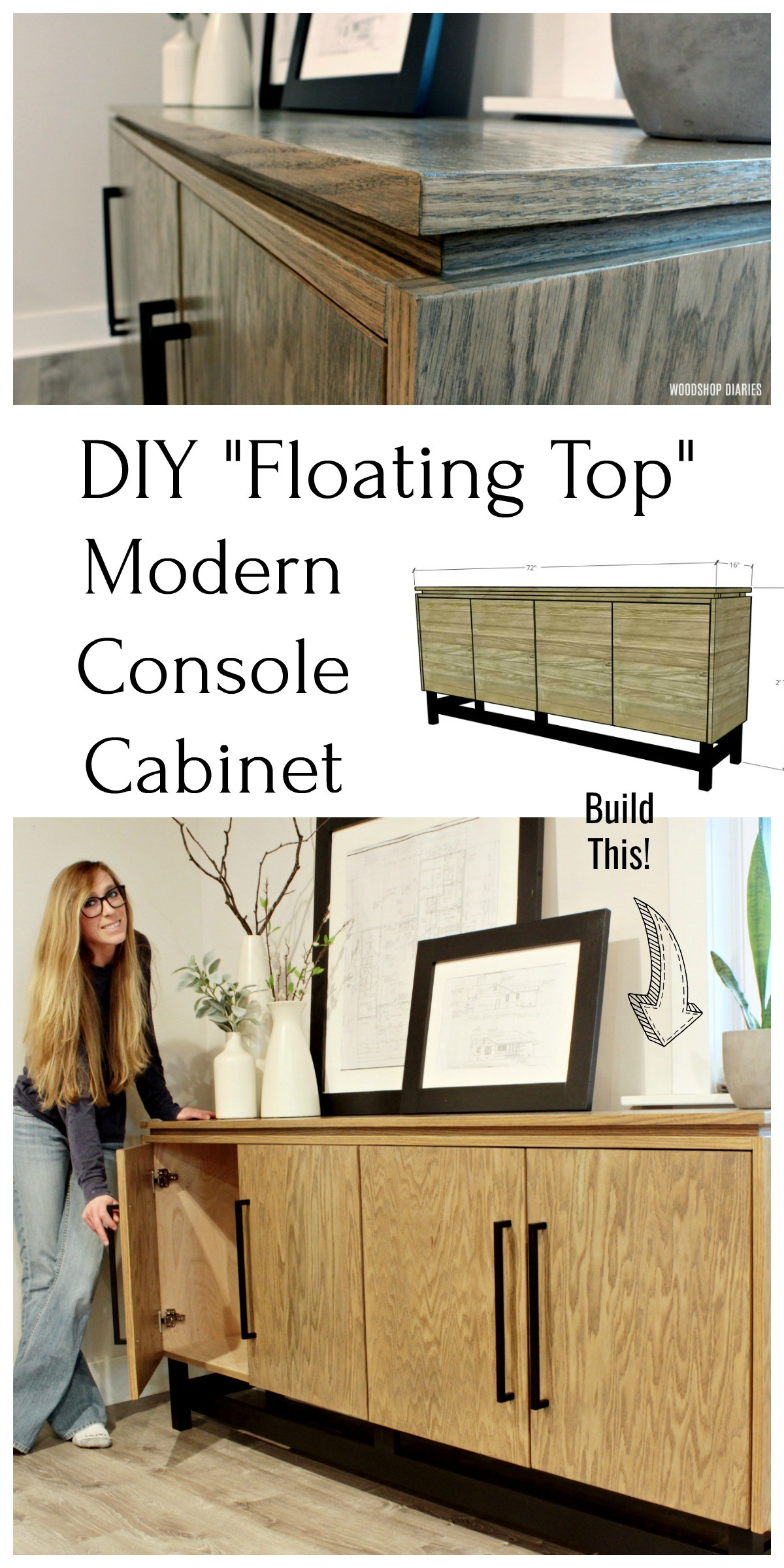 DIY Floating Top Modern Console Cabinet Collage Pinterest Image