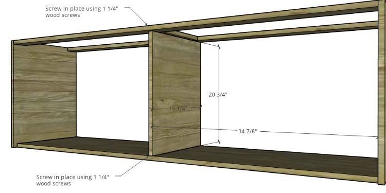 Diagram to install middle cabinet divider panel