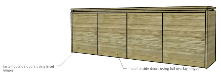 Diagram of doors installed onto modern console cabinet
