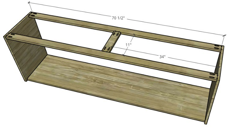 Top of console cabinet frame diagram with dimensions