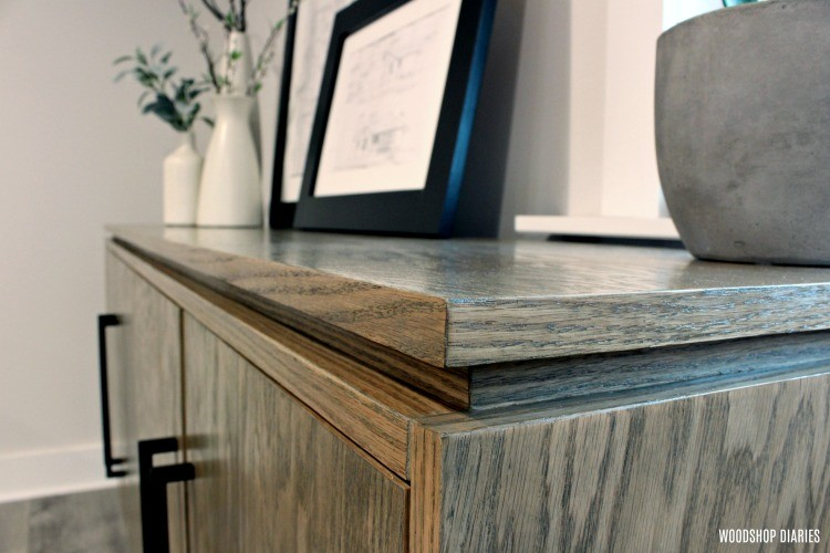Close up of floating cabinet top