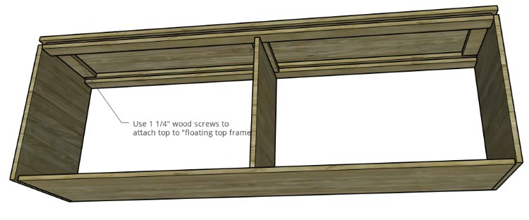 Underside view diagram of console cabinet to attach top