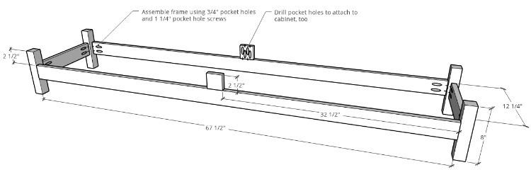 Console Cabinet Base dimensions diagram
